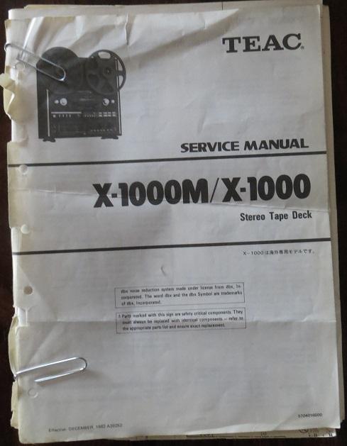 Teac X-1000M / X1000 Original Service Manual